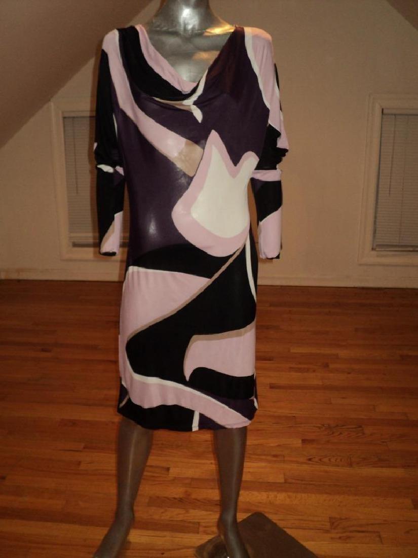 Vintage 1970's Mod printed Italian dress swil Tri color