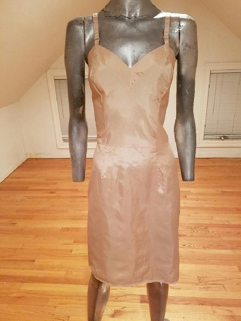 Vintage 1940's night slip/ dress side metal zip antique