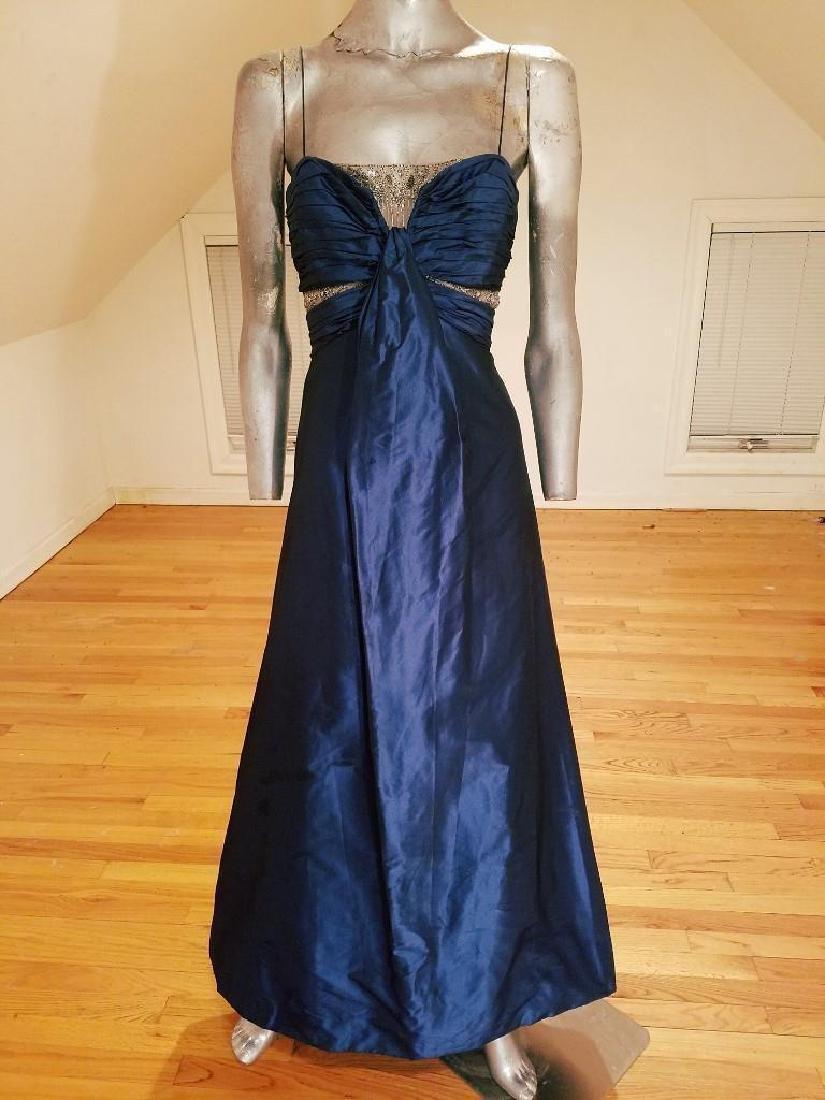 Vintage Badgley Mischka silk Blue Cobalt Azul gown