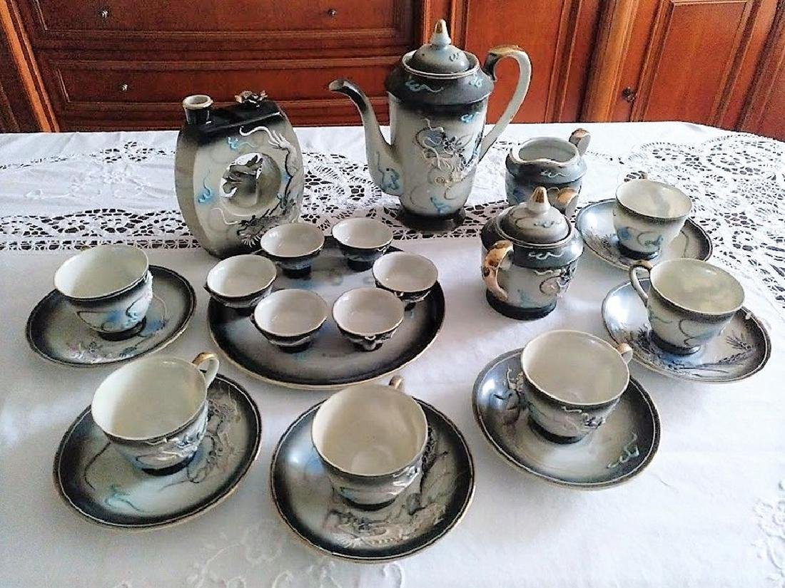 Porcelain Dragon Black/White Coffee Service