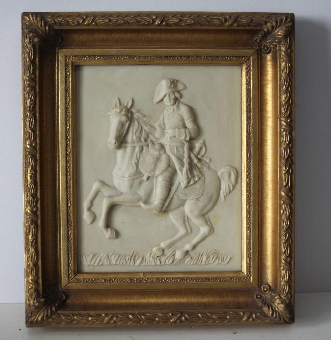 Alabaster Plaque of a French army man on his horse