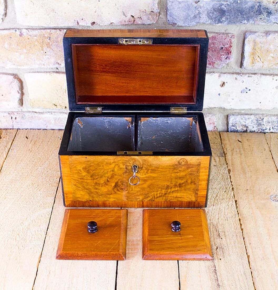 Burr Walnut Tea Caddy c.1860 - 4