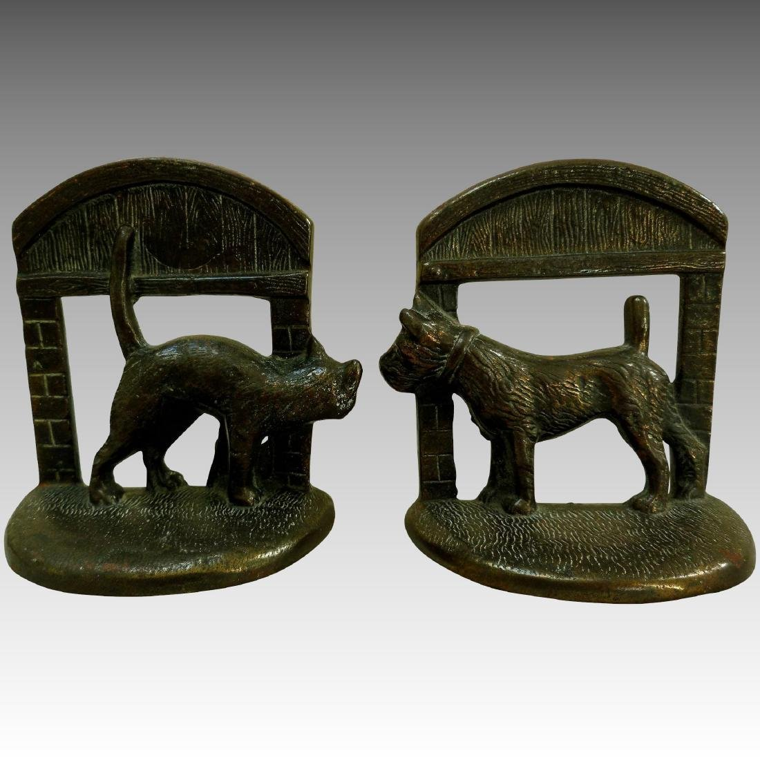 Cast Iron Dog & Cat Book Ends