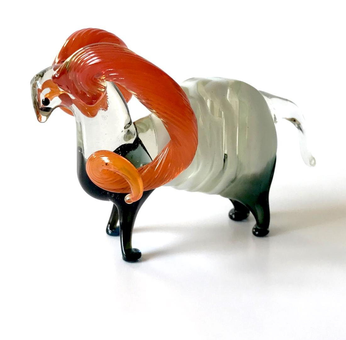 Figurine of flamehorn ram - hand blown glass - 10x7 cm - 2