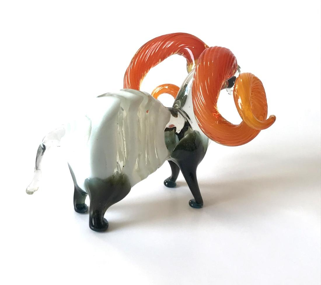 Figurine of flamehorn ram - hand blown glass - 10x7 cm - 4