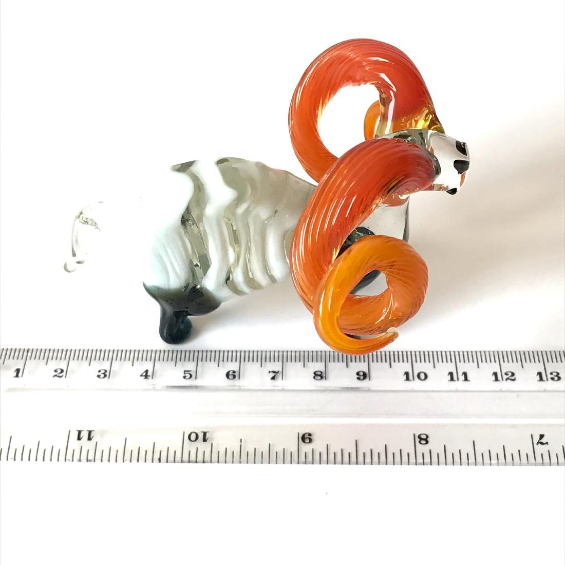 Figurine of flamehorn ram - hand blown glass - 10x7 cm - 6