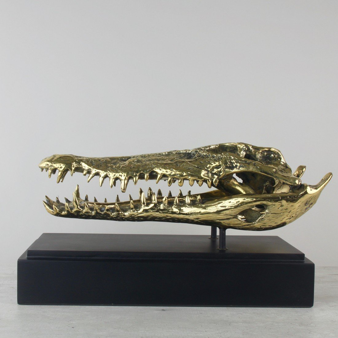 Fine brass statue of a crocodile skull - 7