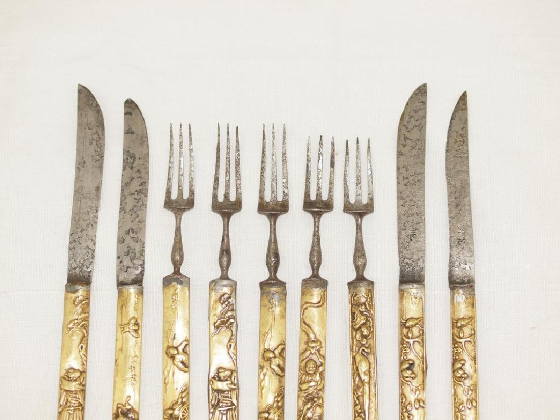 Set of nine cutlery in gold and silver of Meiji period - 2