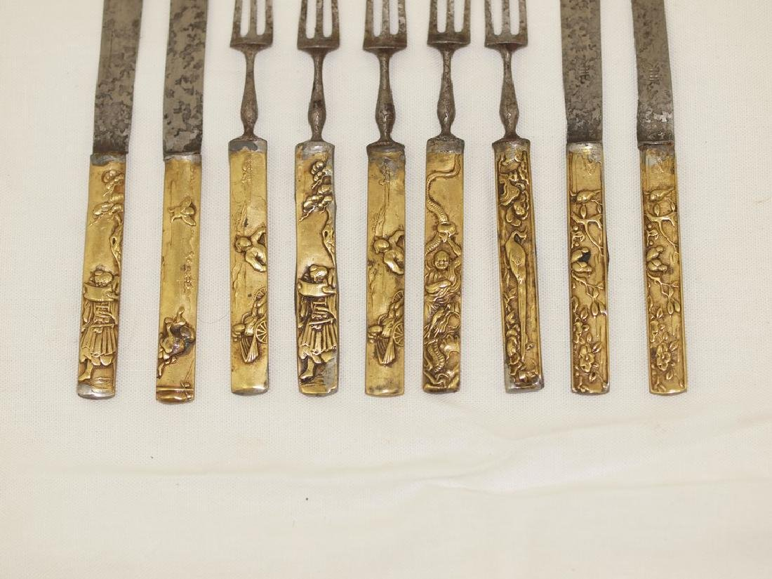 Set of nine cutlery in gold and silver of Meiji period - 3