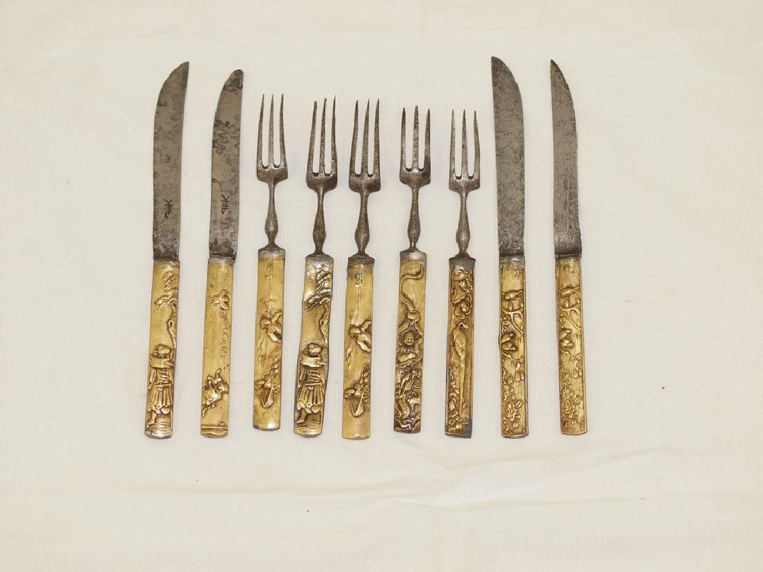 Set of nine cutlery in gold and silver of Meiji period - 4