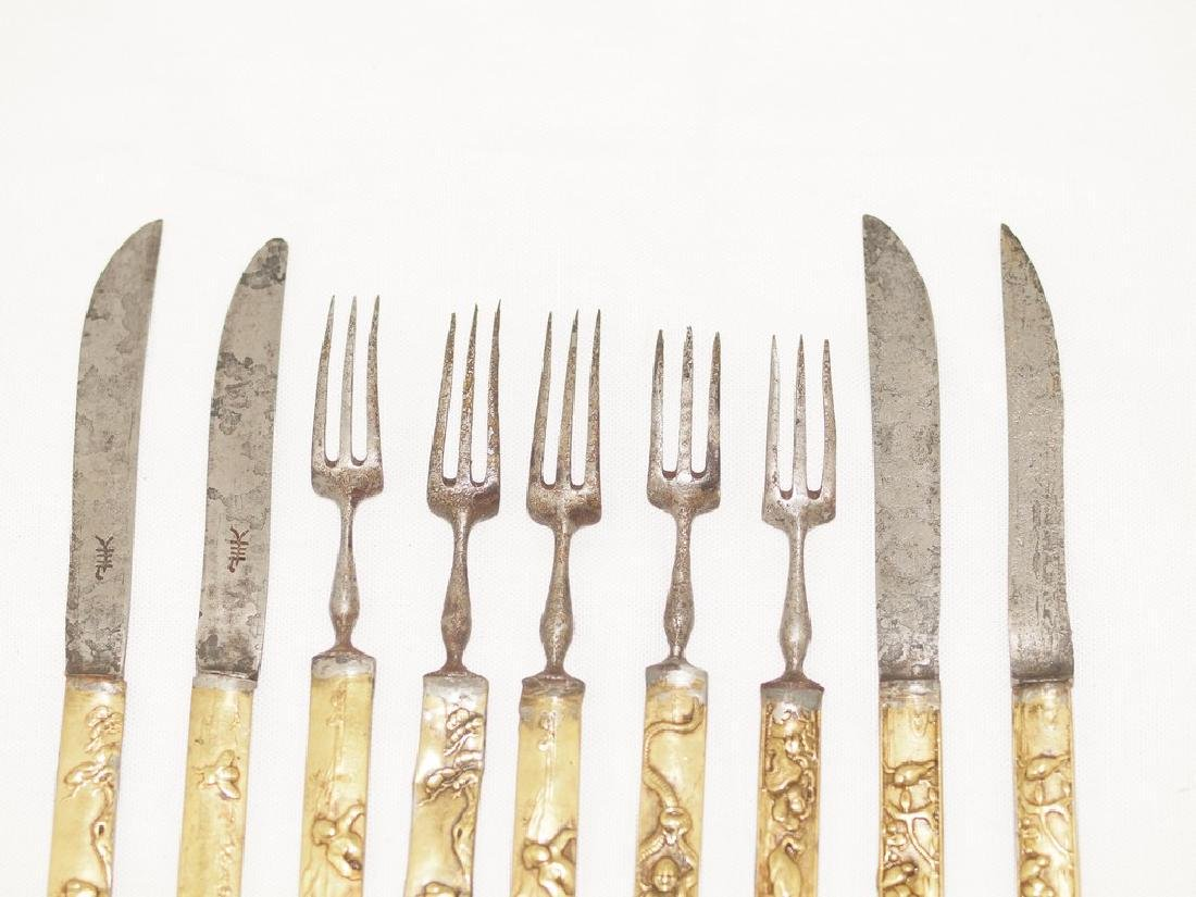 Set of nine cutlery in gold and silver of Meiji period - 5