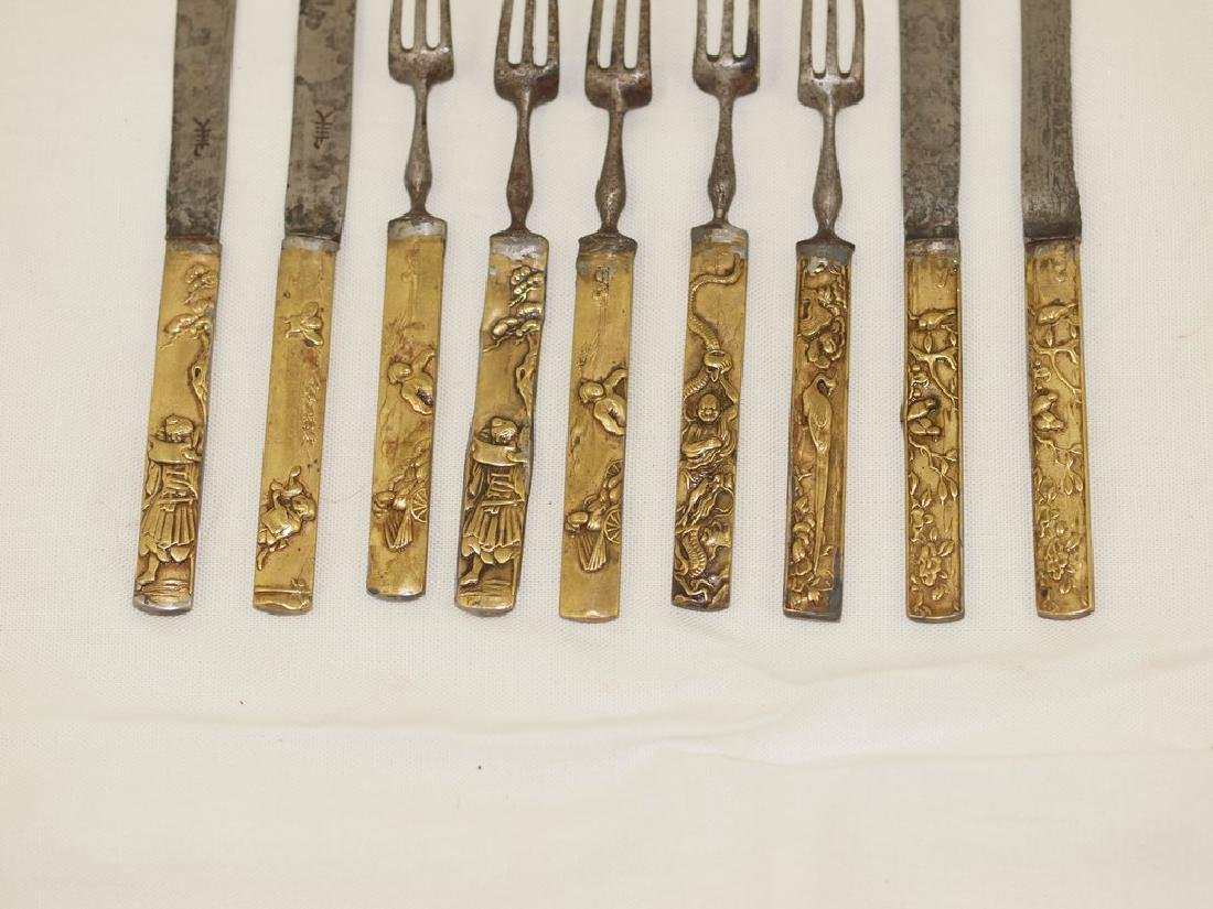Set of nine cutlery in gold and silver of Meiji period - 6