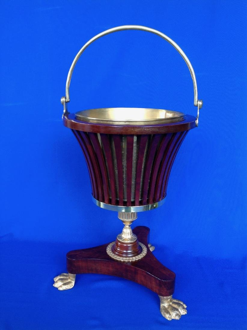 "Peat Bucket Mahogany with Brass liner ""Empire"" with"