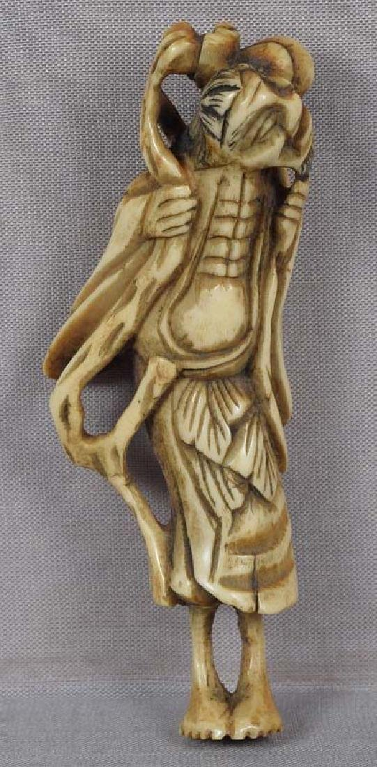 Early 19c staghorn netsuke CHOKWARO SENNIN