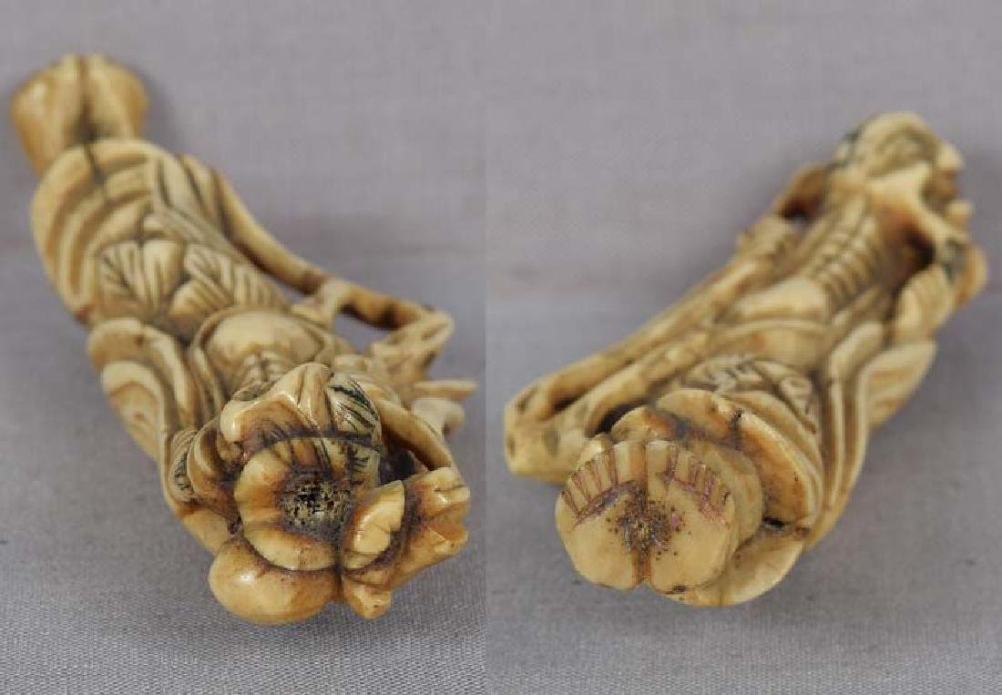 Early 19c staghorn netsuke CHOKWARO SENNIN - 5