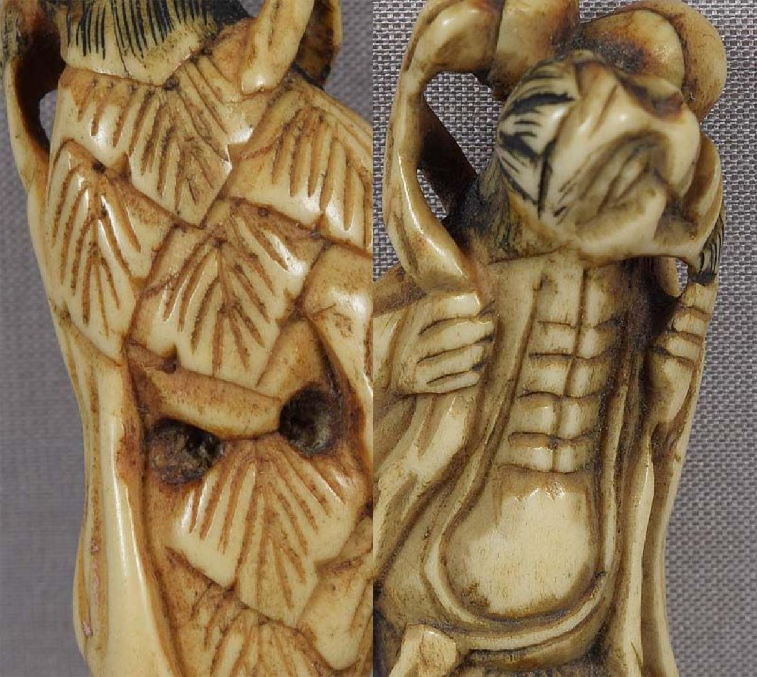 Early 19c staghorn netsuke CHOKWARO SENNIN - 6