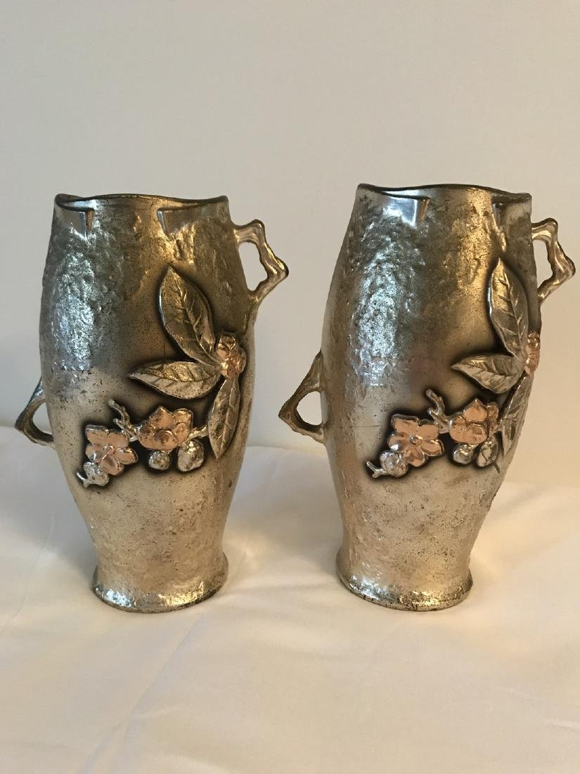 Pair of Japanese mixed metal bronze and silver twin - 5