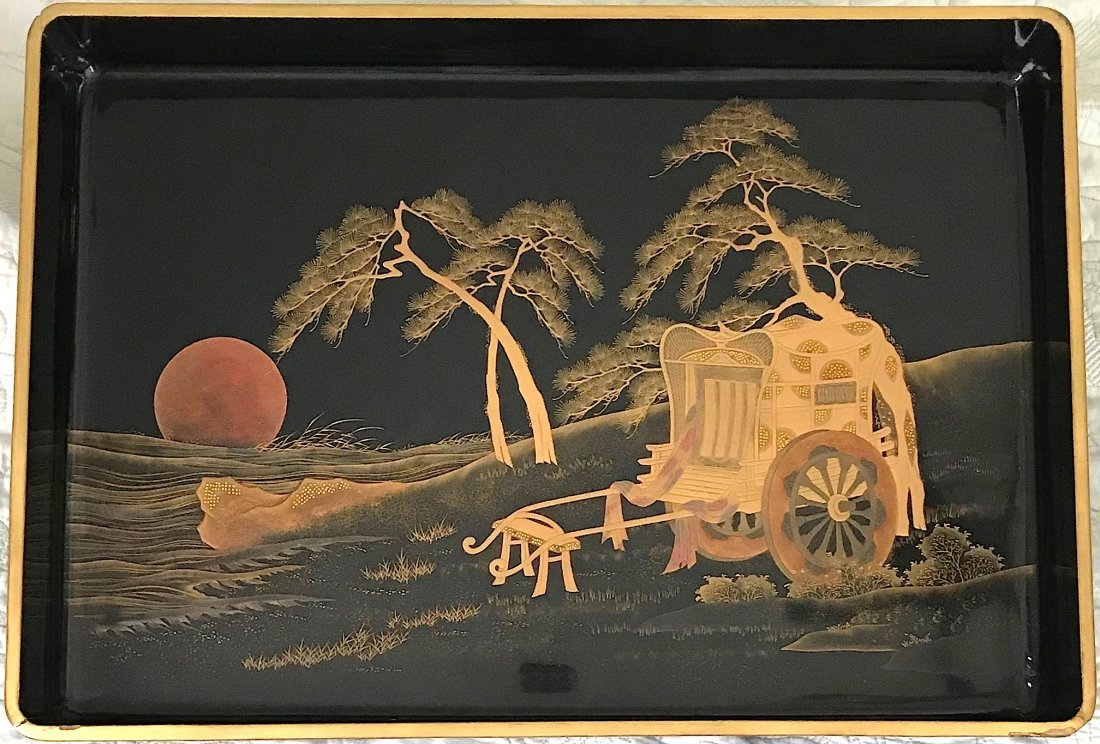 Beautiful large lacquer tray with a cart and a