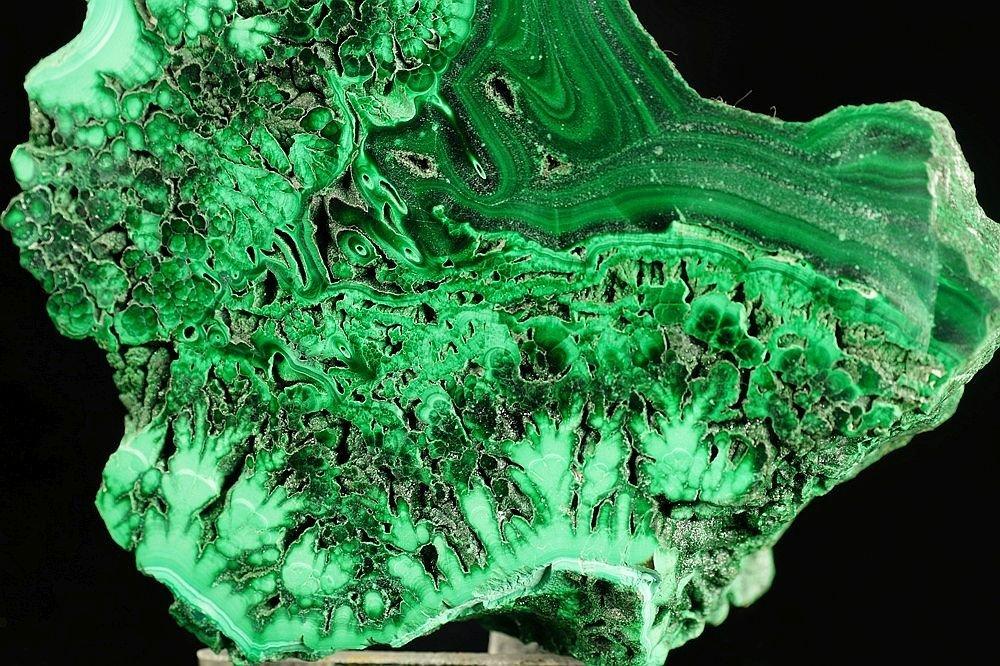 Malachite - one side polished specimen - fantastic form - 5