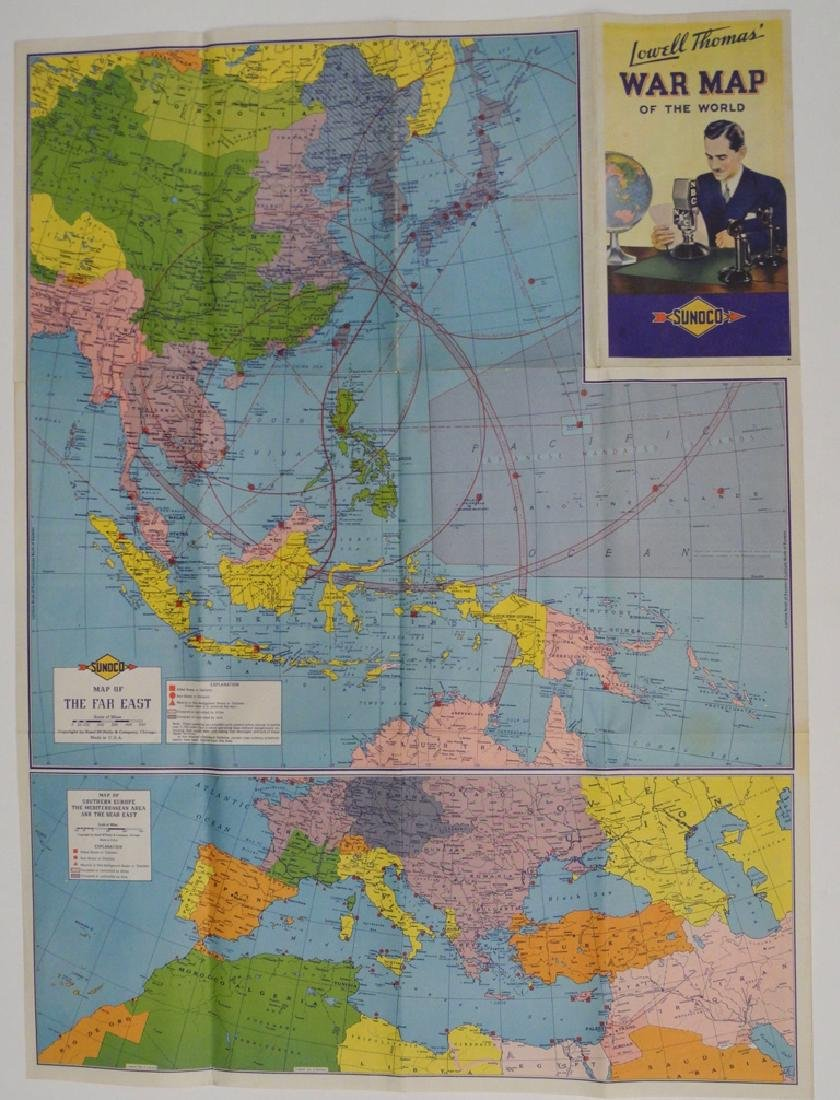 Sunoco Lowell Thomas' War Map of the World - 2