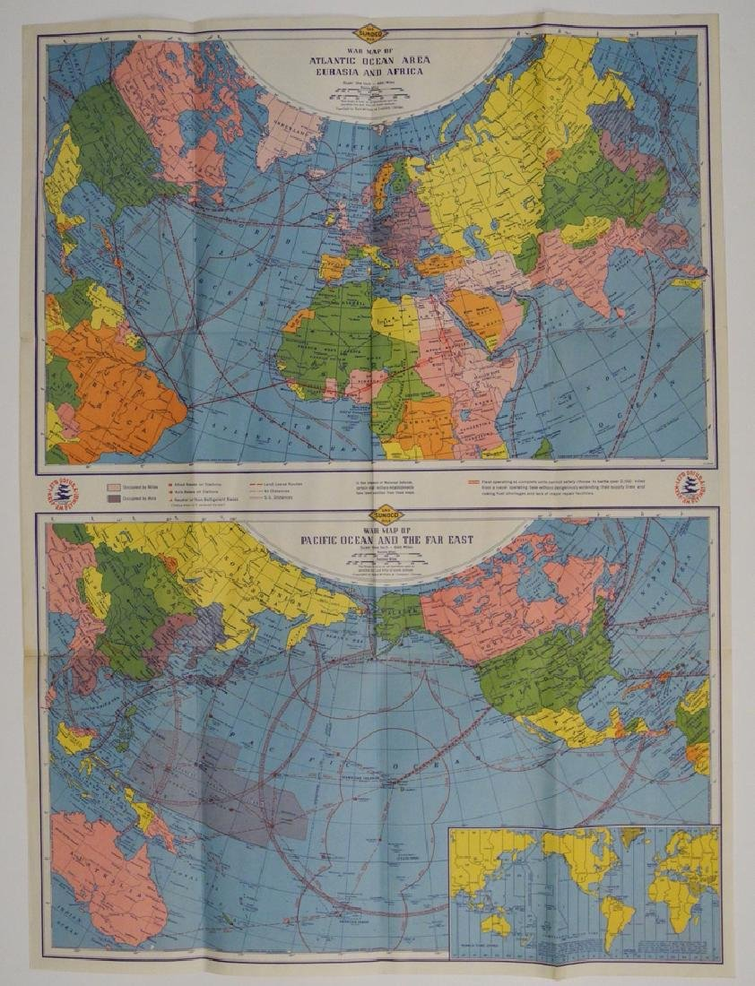 Sunoco Lowell Thomas' War Map of the World - 3