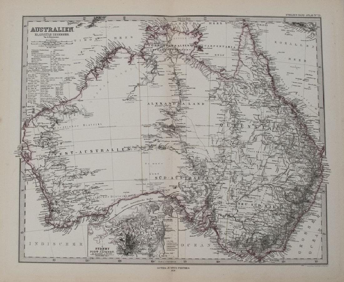 1878 Stieler Map of Australia -- Australien