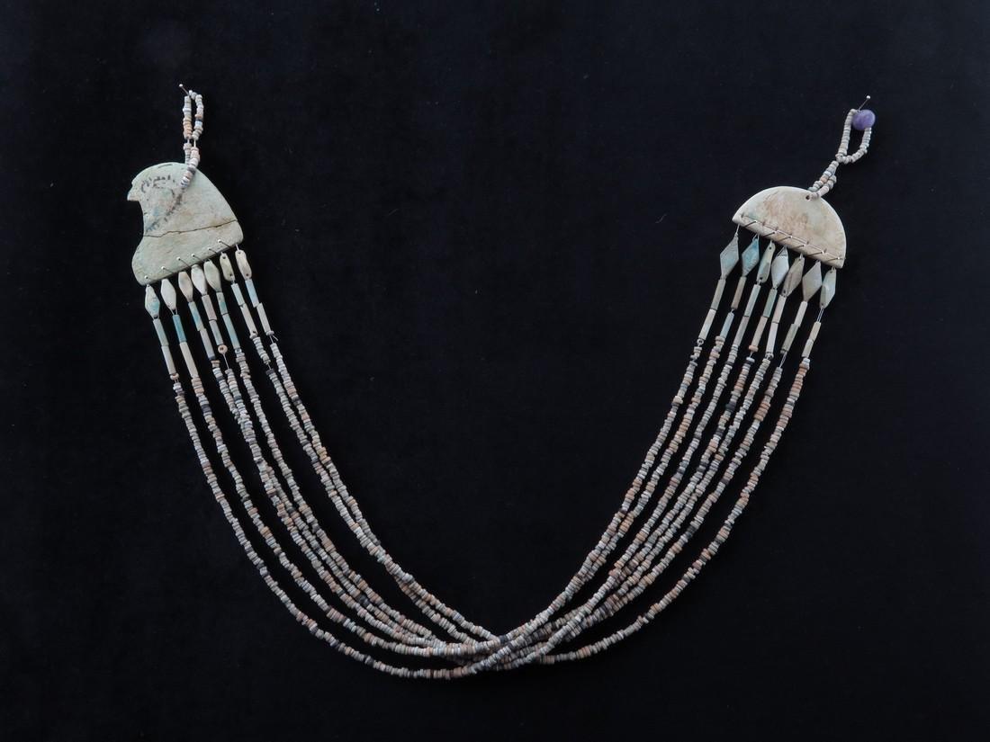 Egyptian Faience Necklace With Horus Falcon Head