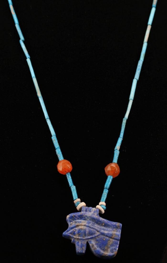 Egyptian Faience Necklace With Udjat Amule.