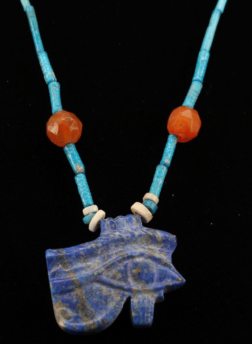 Egyptian Faience Necklace With Udjat Amule. - 2