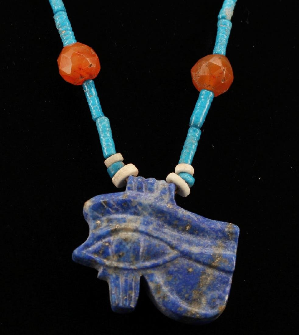 Egyptian Faience Necklace With Udjat Amule. - 3