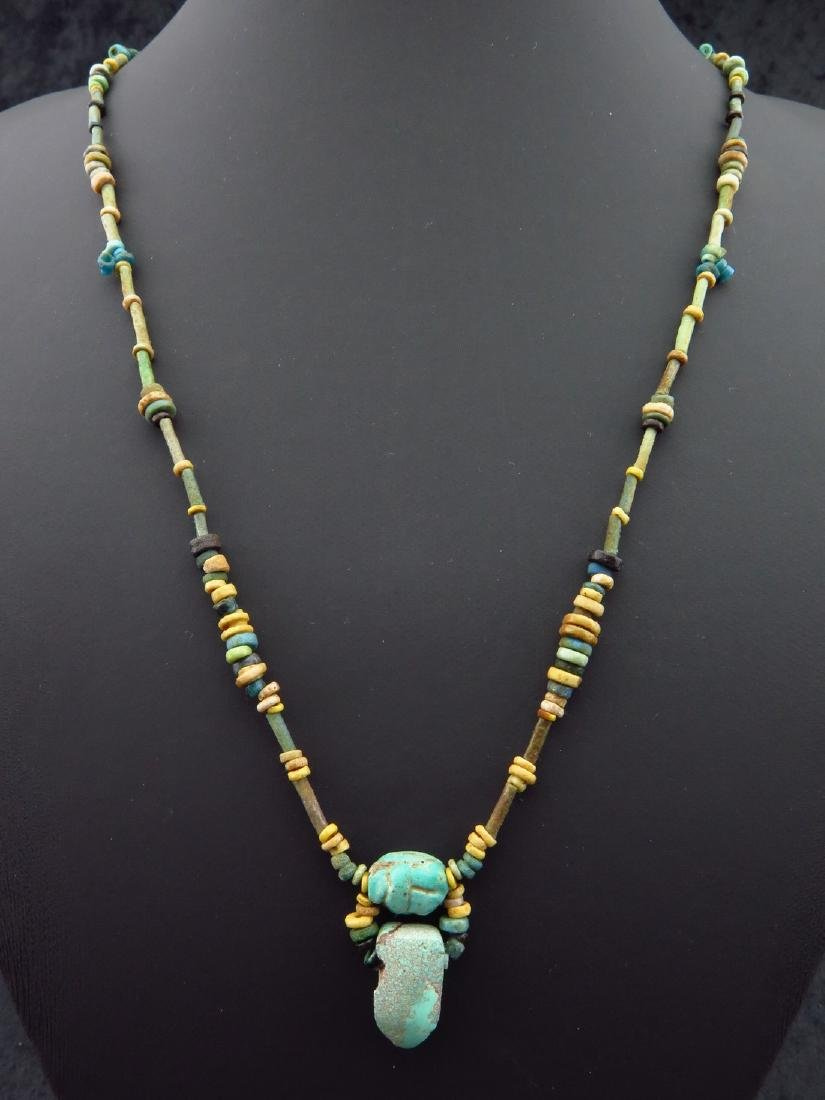 Necklace Made of Egyptian Faience Beads, Scarab and