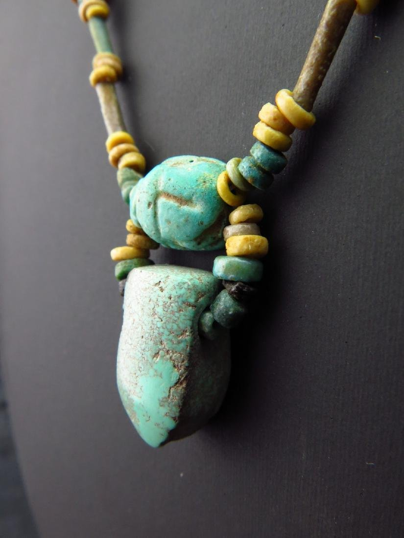 Necklace Made of Egyptian Faience Beads, Scarab and - 4