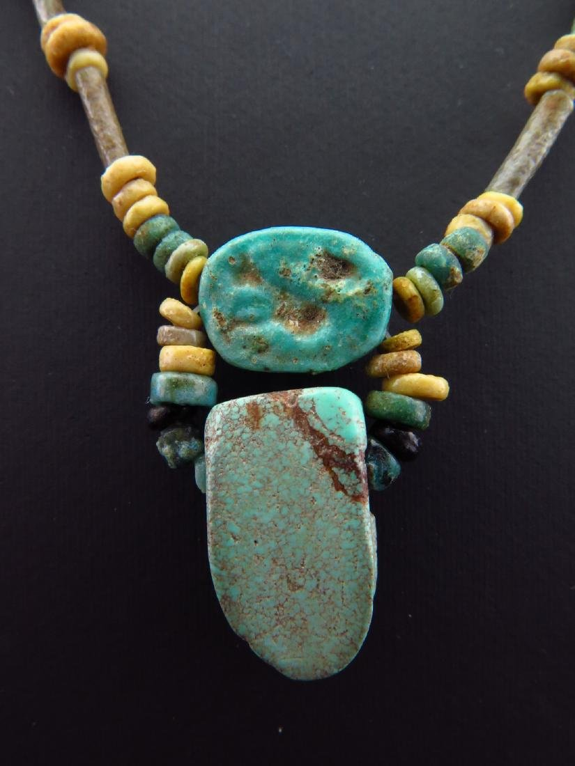 Necklace Made of Egyptian Faience Beads, Scarab and - 5
