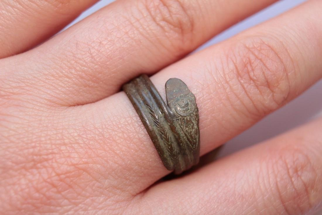 Late - Post Medieval Bronze Snake Ring - 2