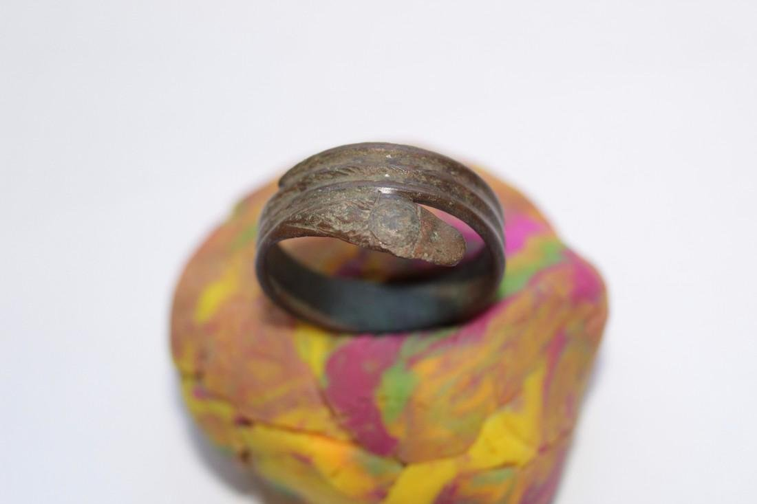 Late - Post Medieval Bronze Snake Ring - 3
