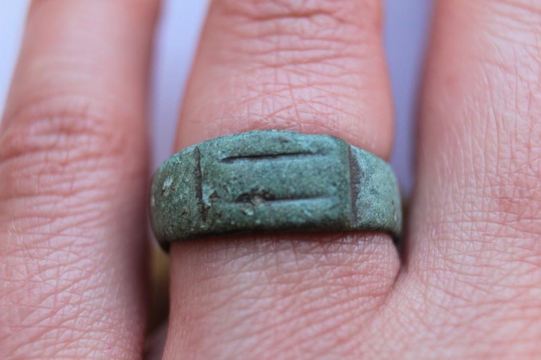 Medieval Bronze Ring With Two Lines