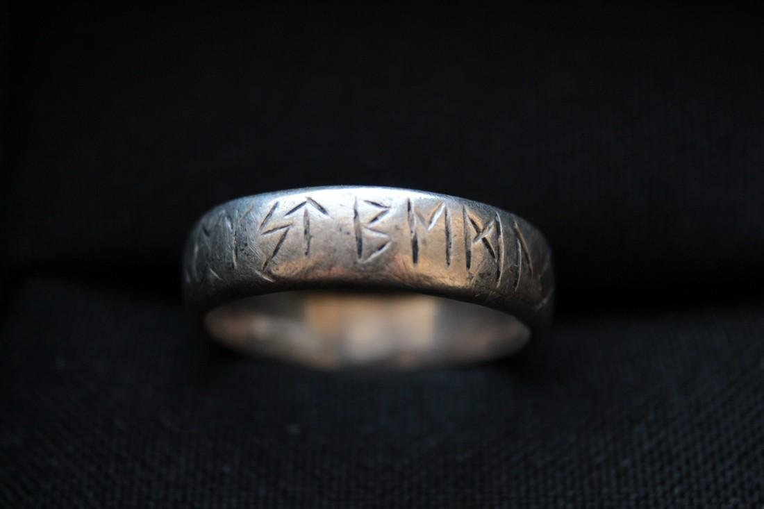 Medieval Silver Ring With Runes