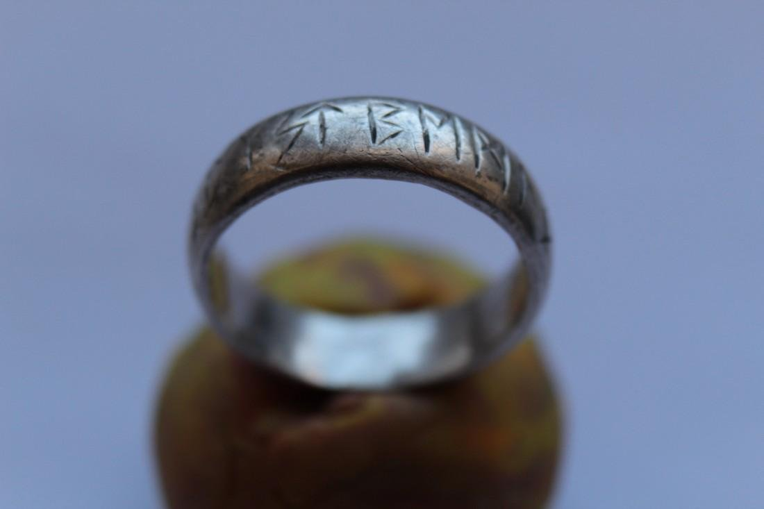 Medieval Silver Ring With Runes - 2