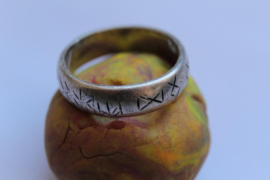 Medieval Silver Ring With Runes - 4