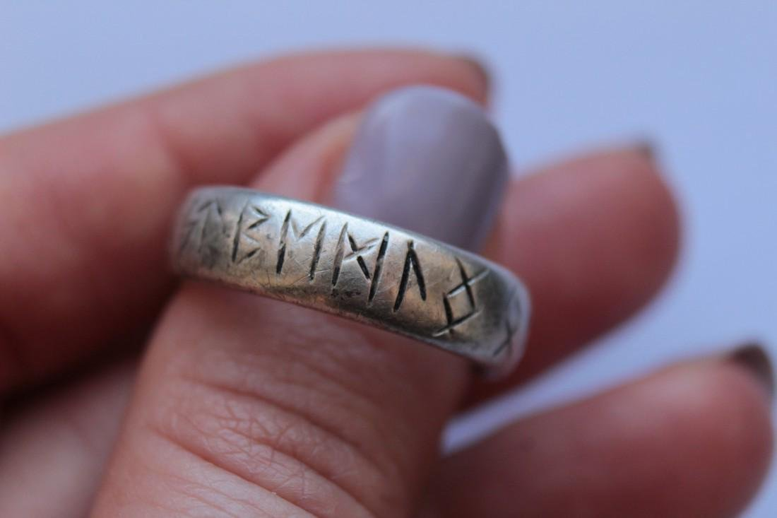 Medieval Silver Ring With Runes - 7