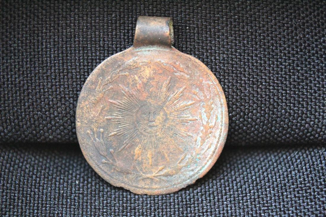 Post Medeival Sun Brass Pendant - 2