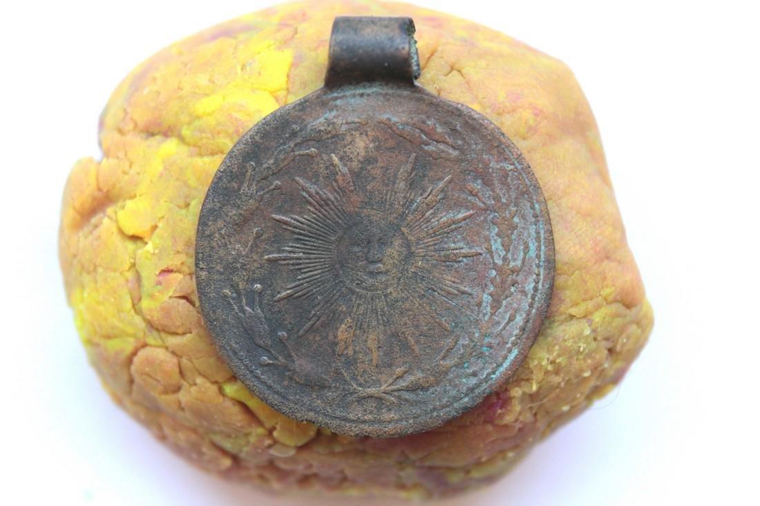 Post Medeival Sun Brass Pendant - 3