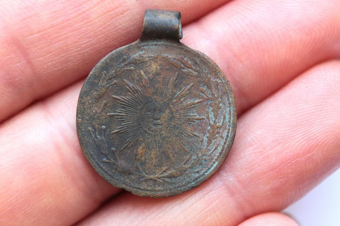 Post Medeival Sun Brass Pendant - 5
