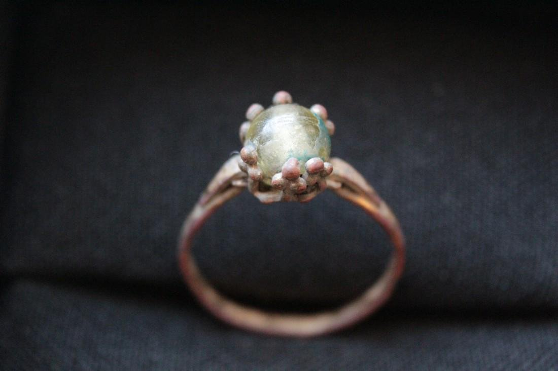 Post Medieval Bronze Ring With Glass Stone Insert