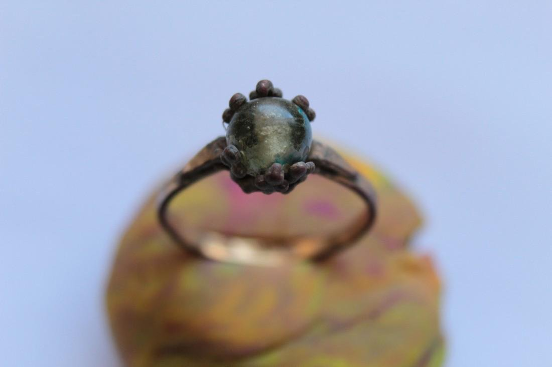 Post Medieval Bronze Ring With Glass Stone Insert - 2