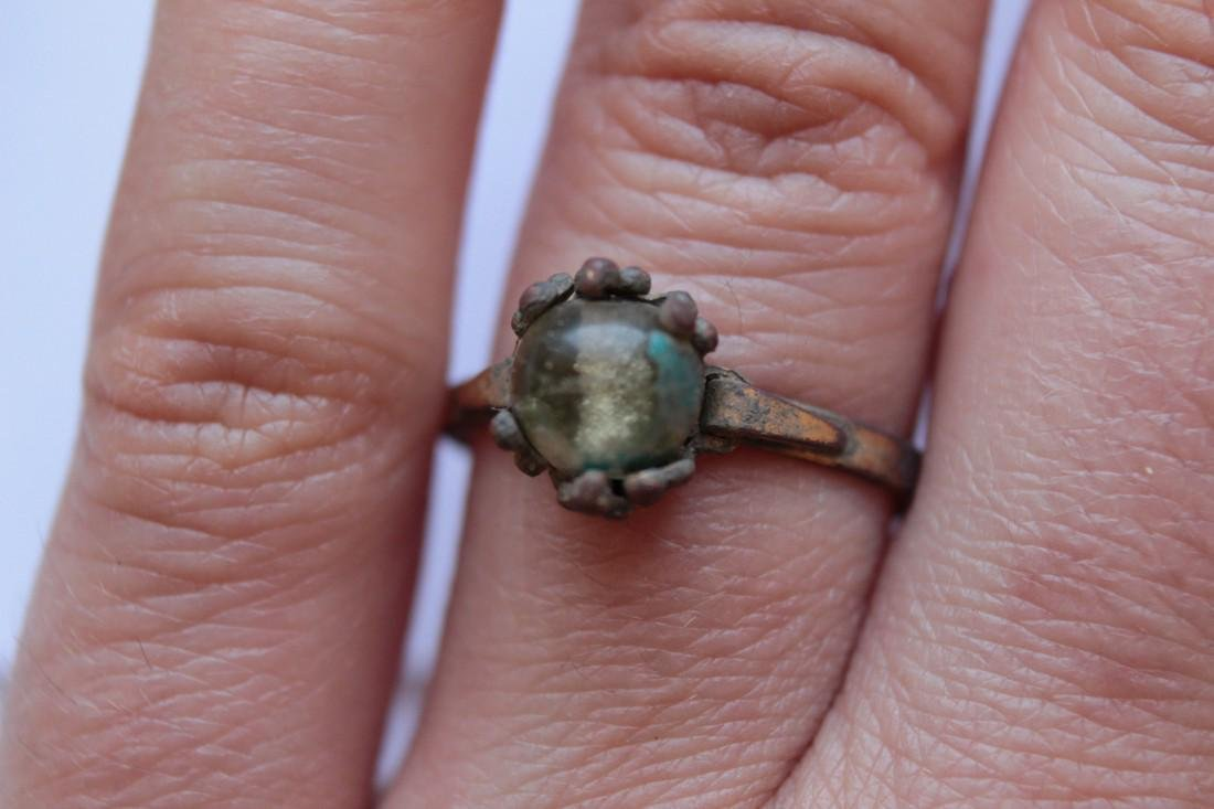 Post Medieval Bronze Ring With Glass Stone Insert - 5