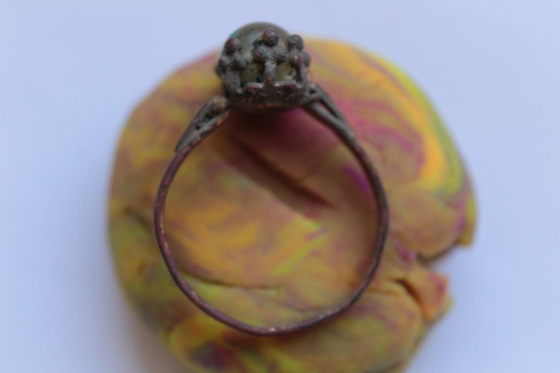 Post Medieval Bronze Ring With Glass Stone Insert - 6