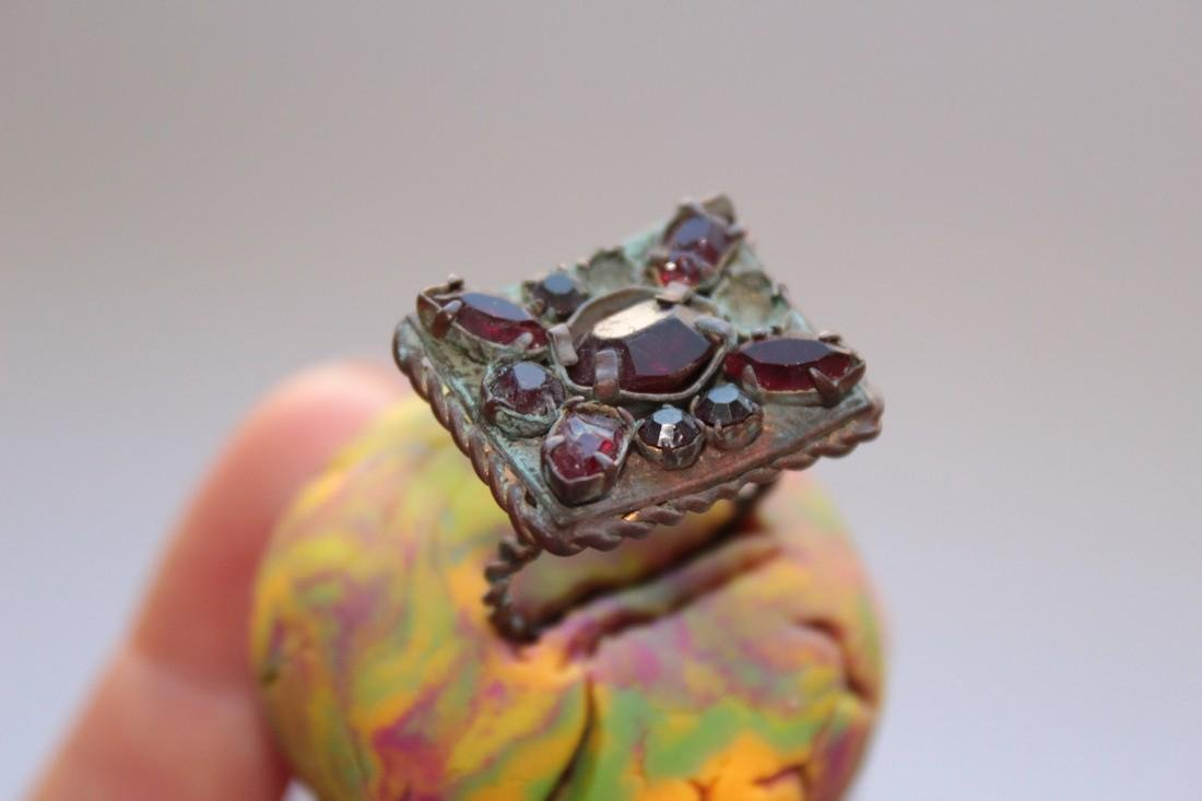 Post Medieval Bronze Ring With Stones in Big - 2