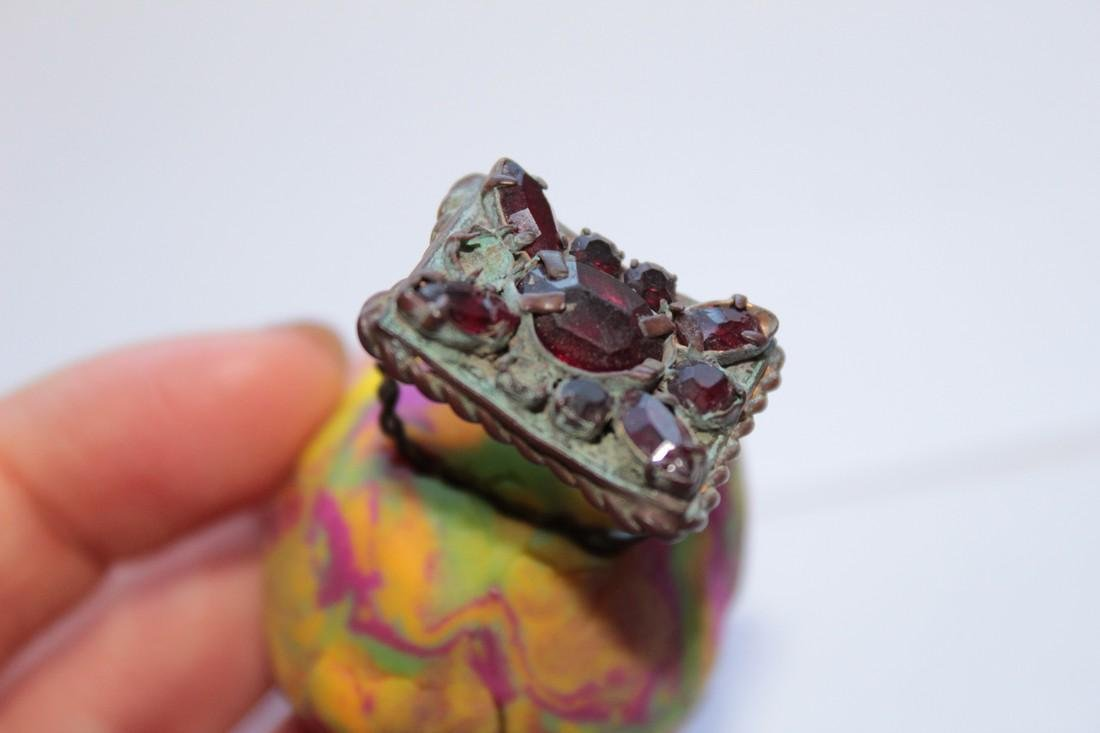 Post Medieval Bronze Ring With Stones in Big - 3
