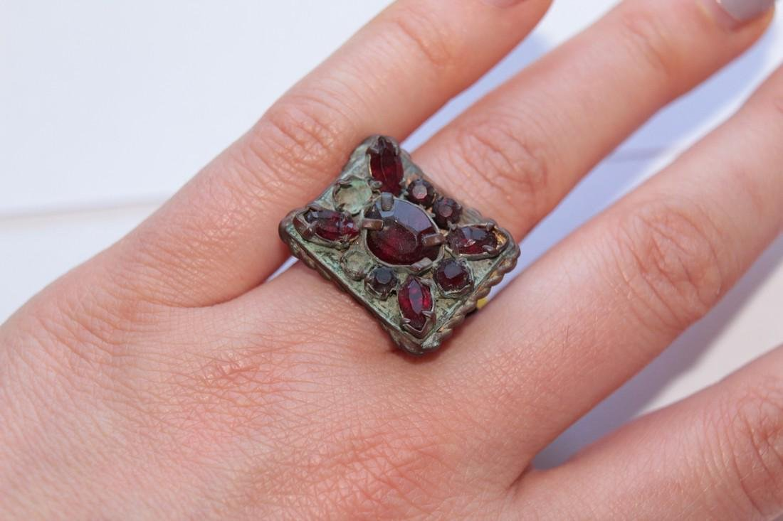 Post Medieval Bronze Ring With Stones in Big - 9
